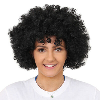 Black Afro Wig Fancy Dress Curly Ladies Mens Hair 70S Disco Costume Accessory