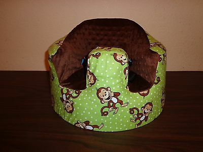 New Bumbo Seat COVER - Green with Giggling Monkeys - Safety Strap Ready