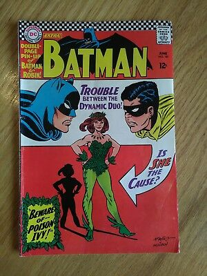 Batman comic book #181 First appearance of Poison Ivy. COMPLETE WITH CENTERFOLD