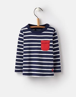 Joules 124722 Baby Boys Patch Pocket Long Sleeved T Shirt in Cream Stripe