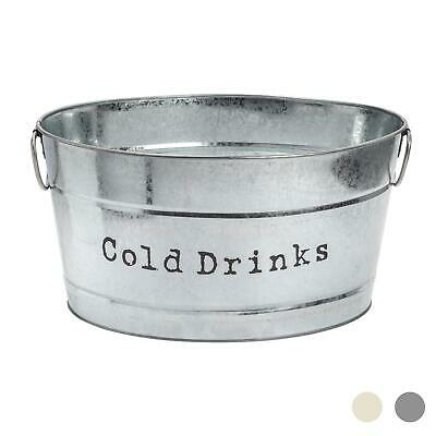 Drinks Cooler Party Bucket in Vintage Metal Silver Cocktails Wine Bar Ice