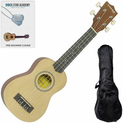CLEARANCE - Graded C Soprano Ukulele Natural with Gig Bag and Online Ukulele Cou