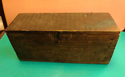 Old Vtg Collectible Primitive Handmade Wood Wooden Nailed Box
