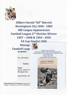Gil Merrick Birmingham City 1946-1960 Rare Original Hand Signed Magazine Cutting