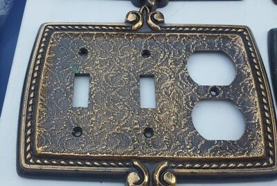 VINTAGE AMEROCK BONAVENTURE Brass Double Light Switch and Outlet Cover Plate EUC