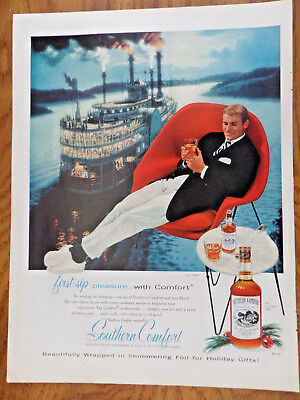 1957 Southern Comfort Liquor Whiskey Ad  River Boat Cruise Theme
