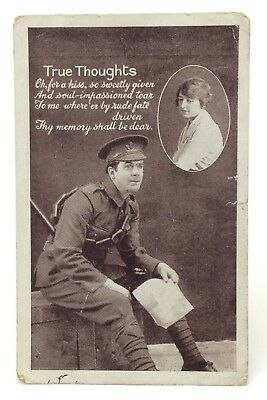 True Thoughts Soldier Writing Letters Unposted Written On Postcard E561