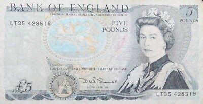 Bank of England - Five (5) Pound Note - Young Queen Elizabeth II on Face
