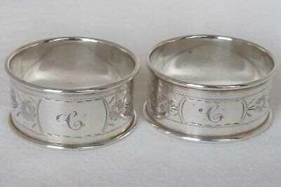 A Fine Antique Pair Of Solid Sterling Silver Napkin Rings Birmingham 1913-1914.