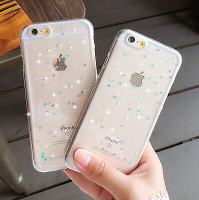 Luxury Bling Glitter Clear Soft Rubber Phone Case Cover For iPhone 6s 5s 7 8+ X