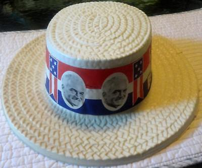 Original LET'S BACK BARRY Goldwater Plastic Boater Campaign Hat w/ Paper Hatband