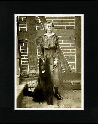 Young Girl And Belgian Shepherd Old Style Dog Photo Print Ready Matted