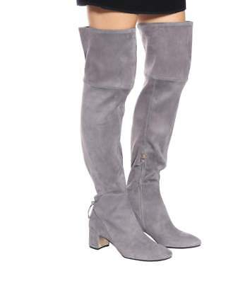 499d42f2616  650 New TORY BURCH Over The Knee LAILA OTK Grey Carbon STRETCH Suede Boots  9.5