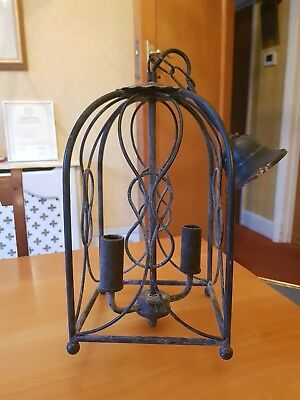 Vintage French Wrough Iron Pendant Hall Light Lantern Porch Lamp Chandelier