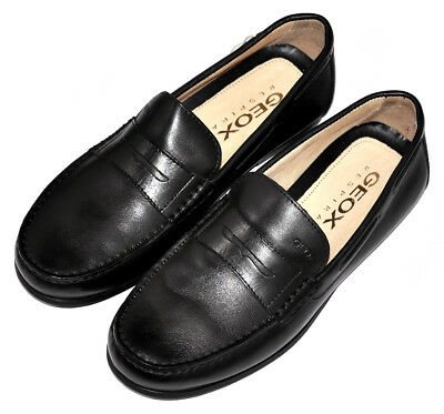 087008c3d8c Mens Moccasin Loafers Casual Shoes GEOX RESPIRA Genuine Black Leather 7 US 40  EU