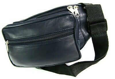 Soft Real Blue Leather 7 Zip 6 Pouch Bum Bag Festival Holiday Travel Security