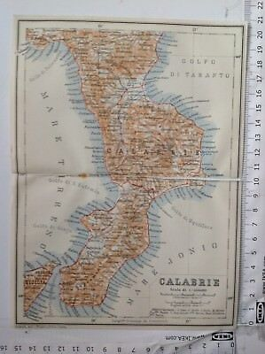 Calabrie, Italy, 1911 Antique Map, Original