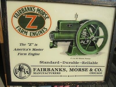 Vintage Reverse Painted Glass Fairbanks - Morse 'z' Hit And Miss Engine Sign