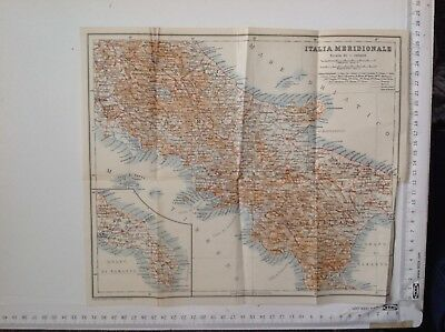 Italia Meridionale, 1911 Antique Map, Original