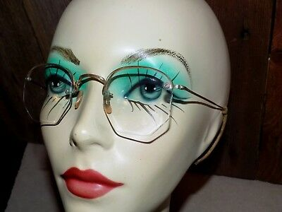 Vtg EYEGLASSES B&L BauscH & Lomb 1/10 12k GF TempLes Bridge curved top & 5-sided