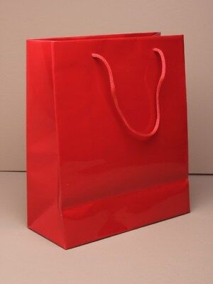 Pack of 12  Glossy Gift Bags With Corded Handles in Fuschia Pink