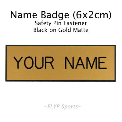Name Badge Tag Plate Gold Matte/Black Safety Pin 6x2cm Personalised Engraved ...