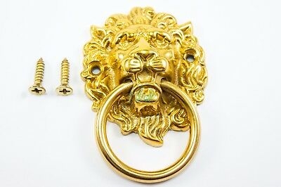 Lion Brass Door Knocker Vintage Antique Victorian Metal Solid Gold Tattoo Harley