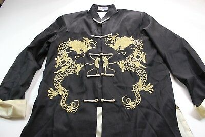 Women's Laogudai Oriental Embroidered Dragon Satin Jacket Knot Tie Large L