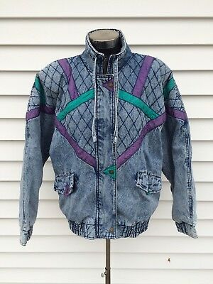 Vintage 80's Acid Wash Denim Coat Color Block Jacket M