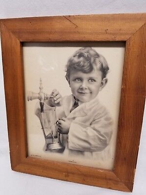 "Vintage 1912 Soda Fountain Print ""Vanilla?"" Young Boy"