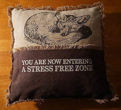 NOW ENTERING A STRESS FREE ZONE Sleeping FOX PILLOW Cabin Lodge Home Decor NEW
