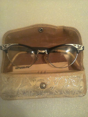 VINTAGE CAT EYE GLASSES art craft 4 1/4 - 5 1/2 alum usa FRAMES & LENSES W/CASE