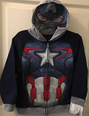Captain America Zip Hoodie Boys Size S Small 4 Avengers Marvel Fast Shipping