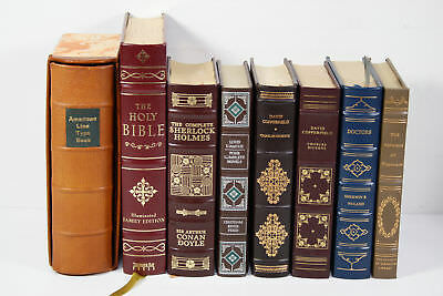 Lot of 8 Classic Leather Gilt Edge Books: David Copperfield, Sherlock Holmes Etc