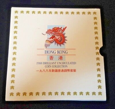 INCOMPLETE 1988 Hong Kong Uncirculated Coin Set (Missing the 10 Cent and 5 Cent)