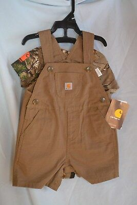 Carhartt 2pc Brown Bib Shorts 1pc Real Tree Camo Shirt CG8661 Baby/Infants NWT