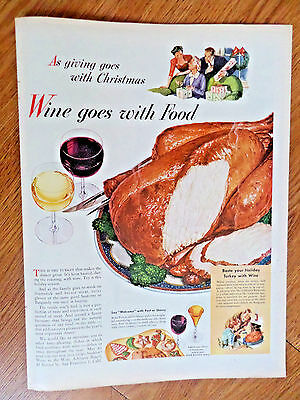 1944 Wine Goes with Food Ad  Christmas Theme  Turkey and Wine