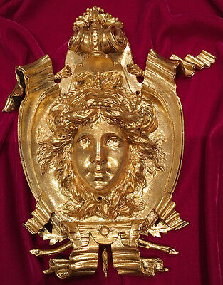 Antique Bronze Ormolu Female Girl Face Masque Plaque Pediment  Furniture mount