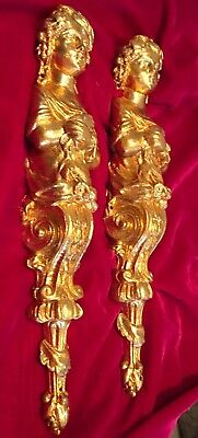 Antique Bronze Ormolu  Caryatids Lady Furniture Ornaments Mounts Decoration