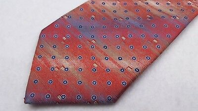 Brioni Tie Necktie Red Pink Multicolor Shimmer Circles Geometric Mens Silk Italy