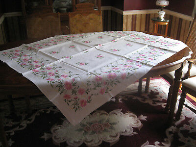 Vintage, Emboidered Cotton Tablecloth 55x44 in.