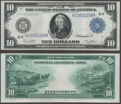 1914 $10 Federal Reserve Bank Note~ St.louis ~ Crisp Almost Uncirculated~