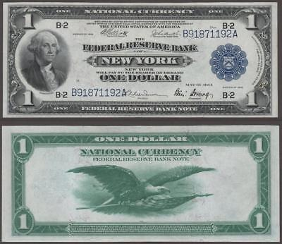 1918 $1~Large Size~National Currency Note New York~Crisp Uncirculated