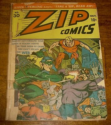 ZIP Comics #30 scarce Archie/MLJ WWII cover *classic* HITLER-spider splash page