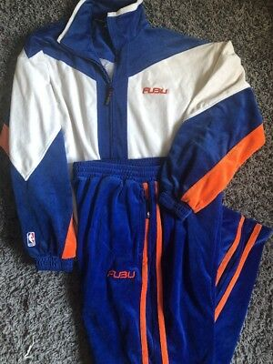 FUBU Men's XL Vintage VELOUR NBA Tracksuit Jacket & Pants Knick's Blue Orange