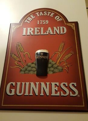 Guinness The Taste Of Ireland 1759 Wooden Vintage 3-D Beer sign flat shipping