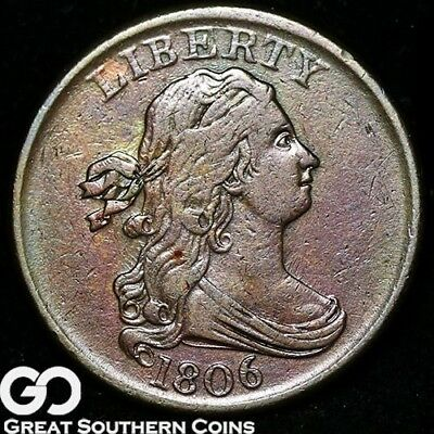 1806 Half Cent, Draped Bust, Tough This Nice, XF+ Early Copper ** Free Shipping!