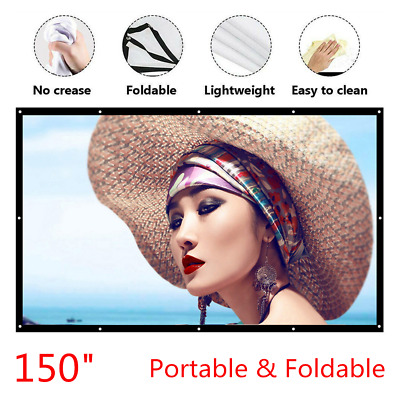 "Outdoor 150"" Portable Foldable Wall Projector Screen 16:9 HD Theater Movies"