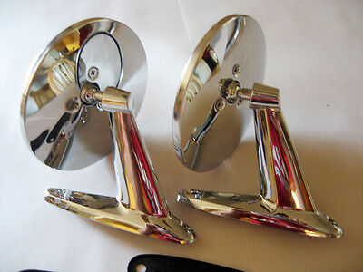 Oldsmobile Universal Round Chrome Door Mount Rear View Mirrors w/ Gaskets PAIR