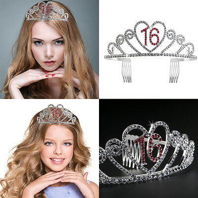 16 Birthday Tiara Rhinestone Crystal Princess Crown Gift Party Accessories